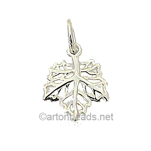 Sterling Silver Charm - Maple - 12x14mm - 1pc - Click Image to Close