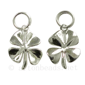 Sterling Silver Charm - 4-leaf Clover- 15x10mm - 1pc