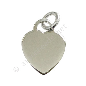 Sterling Silver Charm - Flat Heart - 16x13mm - 1pc