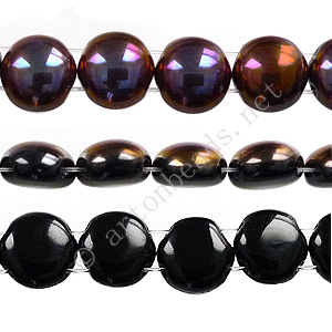 Candy 2-hole Glass Beads - Opaque br. Flare hf.coated-8mm-22pcs