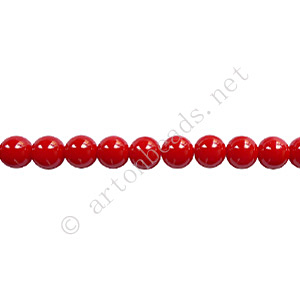 Baking Painted Glass Bead - Round - Red - 4mm - 100pcs