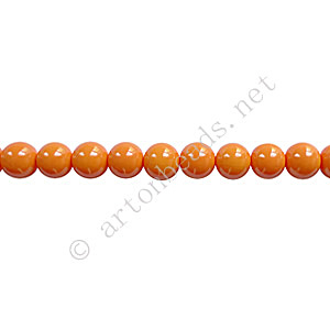 Baking Painted Glass Bead - Round - Orange - 4mm - 100pcs