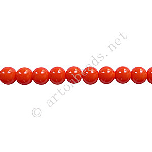 *Baking Painted Glass Bead - Round - Coral - 4mm - 100pcs