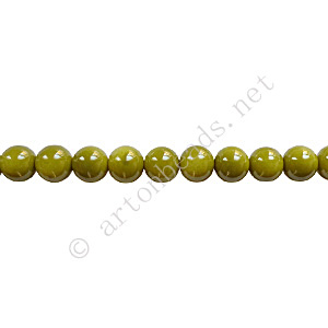 Baking Painted Glass Bead - Round - Olivine - 4mm - 100pcs