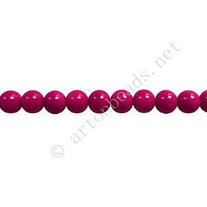 Baking Painted Glass Bead - Round - Fuchsia - 4mm - 100pcs