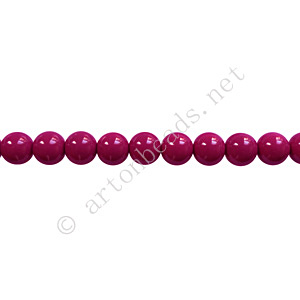 Baking Painted Glass Bead - Round - Dark Fuchsia - 4mm-100pcs