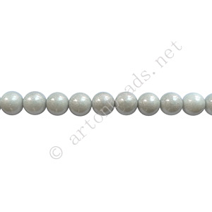 Baking Painted Glass Bead - Round - Silver Grey - 4mm - 100pcs