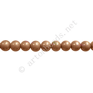 *Baking Painted Glass Bead - Round - Light Brown - 4mm - 100pcs