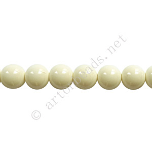 Baking Painted Glass Bead - Round - Ivory - 6mm - 65pcs
