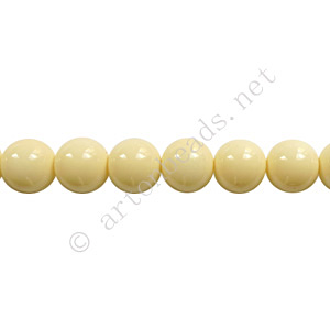 *Baking Painted Glass Bead - Round - Creamy - 6mm - 65pcs