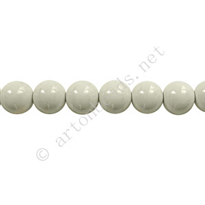 Baking Painted Glass Bead - Round - Light Grey - 6mm - 65pcs