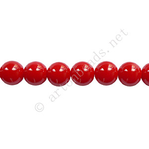 Baking Painted Glass Bead - Round - Red - 6mm - 65pcs