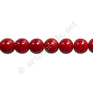Baking Painted Glass Bead - Round - Dark Red - 6mm - 65pcs