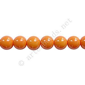 *Baking Painted Glass Bead - Round - Orange - 6mm - 65pcs