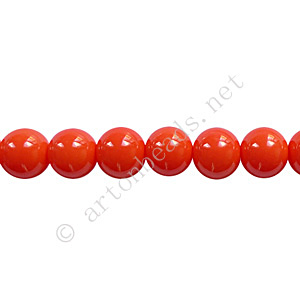 Baking Painted Glass Bead - Round - Coral - 6mm - 65pcs