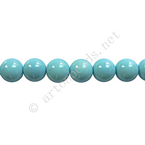 Baking Painted Glass Bead - Round - Sky Blue - 6mm - 65pcs