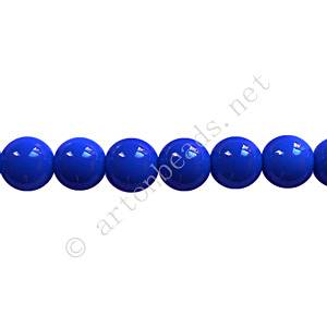 Baking Painted Glass Bead - Round - Sapphire - 6mm - 65pcs