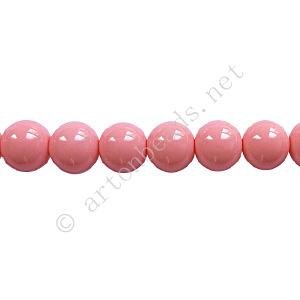Baking Painted Glass Bead - Round - Pink - 6mm - 65pcs