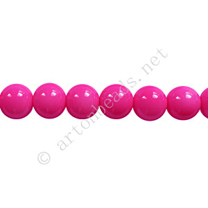 *Baking Painted Glass Bead - Round - Hot Pink - 6mm - 65pcs