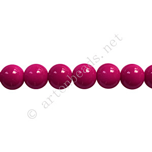 Baking Painted Glass Bead - Round - Fuchsia - 6mm - 65pcs