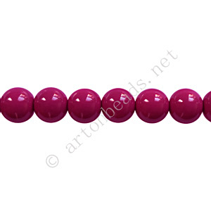 *Baking Painted Glass Bead - Round - Dark Fuchsia - 6mm-65pcs