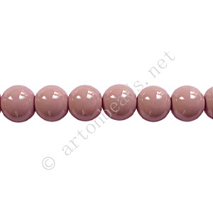 Baking Painted Glass Bead - Round - Pinkish Purple - 6mm-65pcs