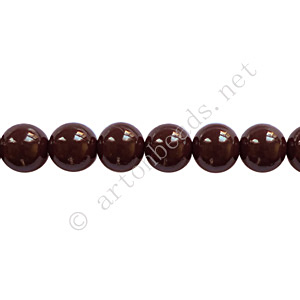 Baking Painted Glass Bead - Round - Chocolate - 6mm - 65pcs