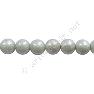 Baking Painted Glass Bead - Round - Silver Grey - 6mm - 65pcs