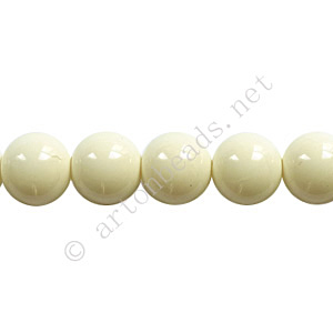 Baking Painted Glass Bead - Round - Ivory - 8mm - 50pcs