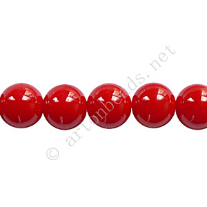 Baking Painted Glass Bead - Round - Red - 8mm - 50pcs