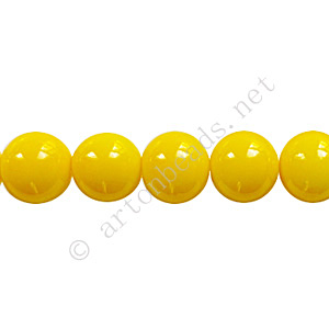 Baking Painted Glass Bead - Round - Yellow - 8mm - 50pcs