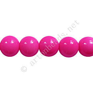 Baking Painted Glass Bead - Round - Hot Pink - 8mm - 50pcs