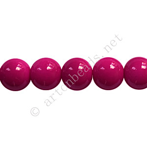 Baking Painted Glass Bead - Round - Fuchsia - 8mm - 50pcs