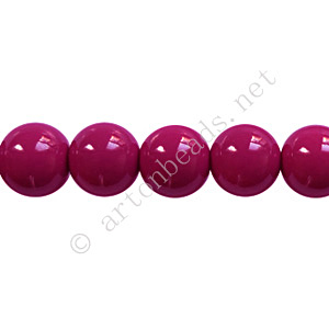 Baking Painted Glass Bead - Round - Dark Fuchsia - 8mm-50pcs - Click Image to Close