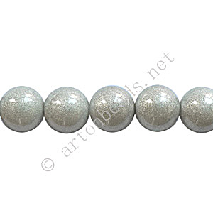 Baking Painted Glass Bead - Round - Silver Grey - 8mm - 50pcs