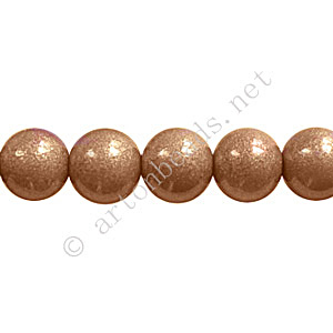 Baking Painted Glass Bead - Round - Light Brown - 8mm - 50pcs