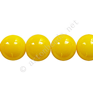 Baking Painted Glass Bead - Round - Yellow - 10mm - 40pcs