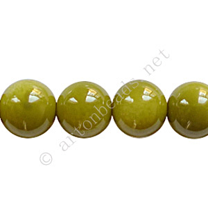 Baking Painted Glass Bead - Round - Olivine - 10mm - 40pcs
