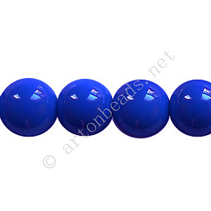 Baking Painted Glass Bead - Round - Sapphire - 10mm - 40pcs