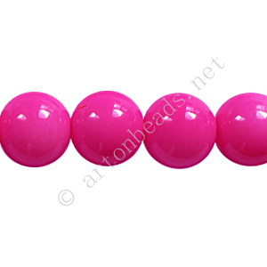 Baking Painted Glass Bead - Round - Hot Pink - 10mm - 40pcs