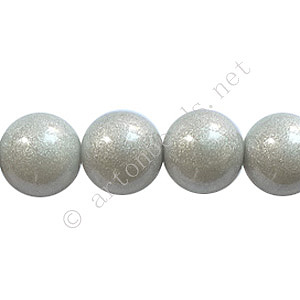 Baking Painted Glass Bead - Round - Silver Grey - 10mm - 40pcs