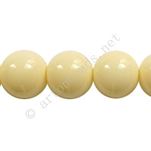 Baking Painted Glass Bead - Round - Creamy - 12mm - 34pcs