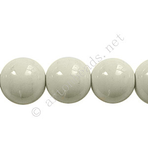 Baking Painted Glass Bead - Round - Light Grey - 12mm - 34pcs