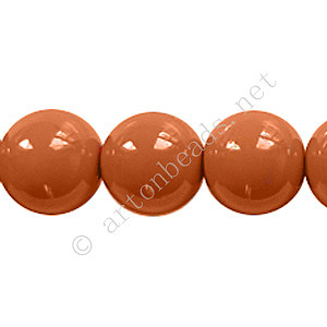 Baking Painted Glass Bead - Round - Copper Brown - 12mm-34pcs