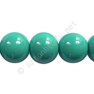 Baking Painted Glass Bead - Round - Turquoise - 12mm - 34pcs