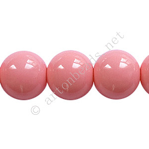 Baking Painted Glass Bead - Round - Pink - 12mm - 34pcs