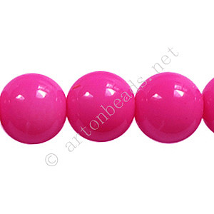 Baking Painted Glass Bead - Round - Hot Pink - 12mm - 34pcs