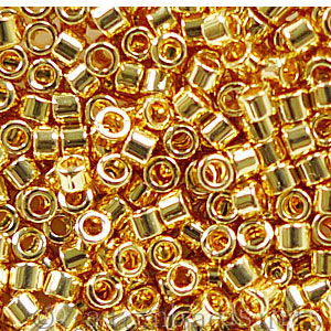 Japanese Miyuki Delica Beads - Gold 24kt AB Plated-11/0 -1 Vial