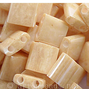 Miyuki 2-hole Tila Beads - Light Caramel Opaque Ceylon - 5x5mm
