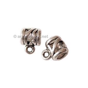 Pendant Holder - Antique Silver Plated - 9x5mm - 15pcs